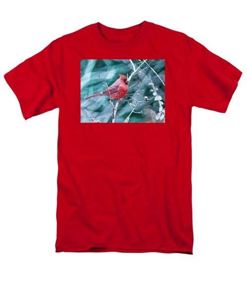 Men's T-Shirt  (Regular Fit) featuring the painting Cardinal In Winter by Joshua Martin