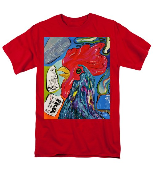 Men's T-Shirt  (Regular Fit) featuring the mixed media Cock-a-doodle-do by Janice Rae Pariza
