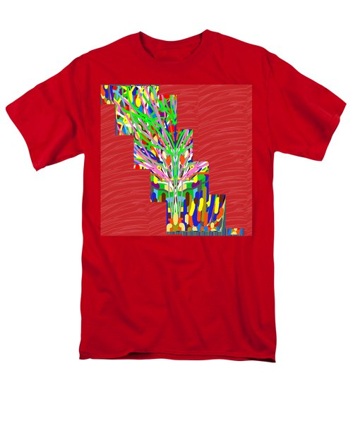 Colorful Tree Of Life Abstract Red Sparkle Base Men's T-Shirt  (Regular Fit) by Navin Joshi