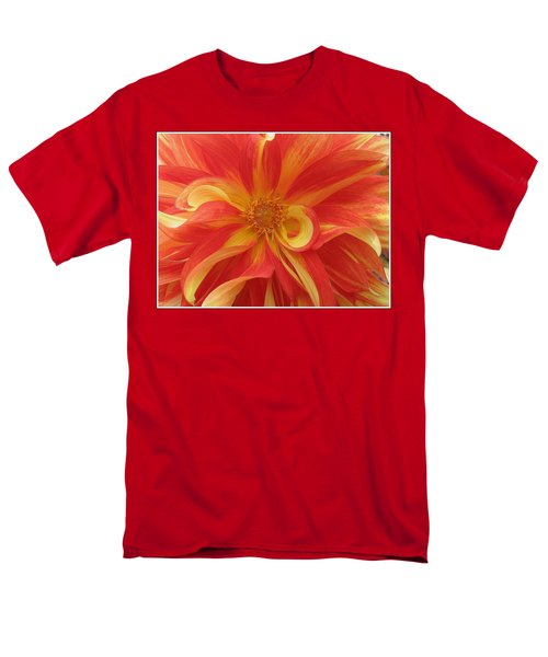Dahlia Unfurling In Yellow And Red Men's T-Shirt  (Regular Fit) by Dora Sofia Caputo Photographic Art and Design