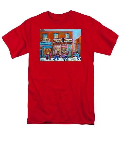 Decarie Hot Dog Restaurant Ville St. Laurent Montreal  Men's T-Shirt  (Regular Fit) by Carole Spandau