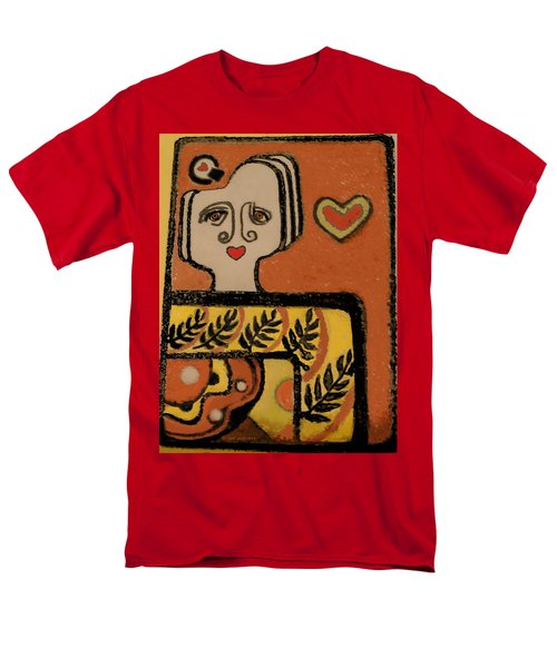 Men's T-Shirt  (Regular Fit) featuring the painting Deco Queen Of Hearts by Carol Jacobs
