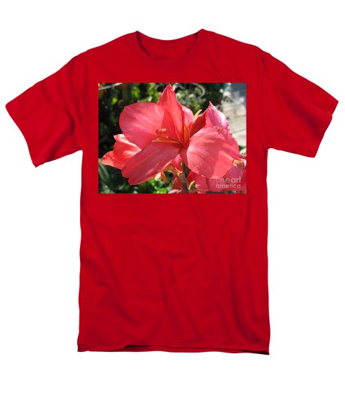 Men's T-Shirt  (Regular Fit) featuring the photograph Dwarf Canna Lily Named Shining Pink by J McCombie