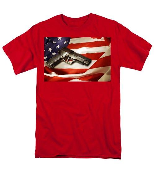 Gun On Flag Men's T-Shirt  (Regular Fit) by Les Cunliffe