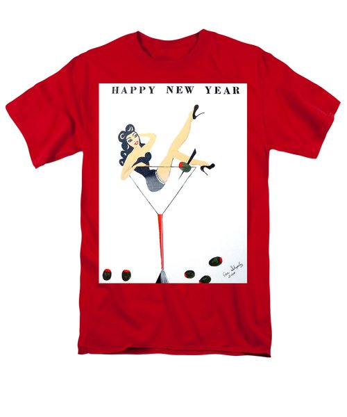 Men's T-Shirt  (Regular Fit) featuring the painting Happy New Year by Nora Shepley