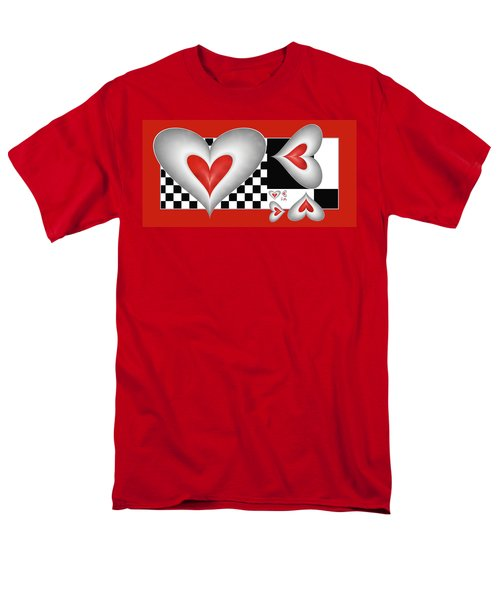Men's T-Shirt  (Regular Fit) featuring the digital art Hearts On A Chessboard by Gabiw Art