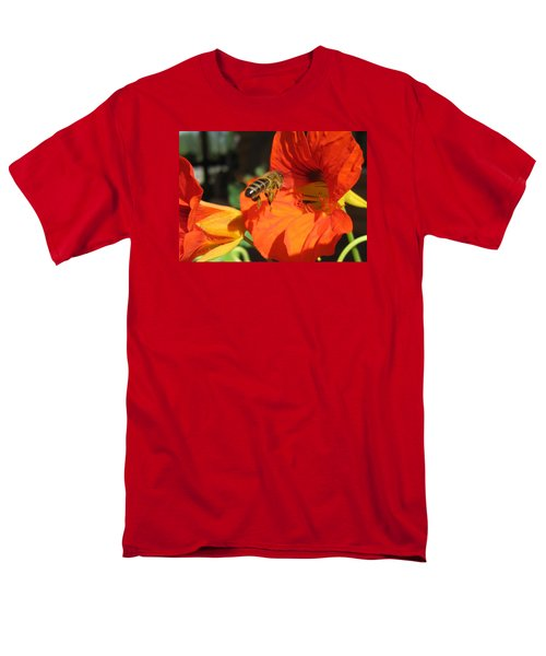 Honeybee Entering Nasturtium Men's T-Shirt  (Regular Fit) by Lucinda VanVleck