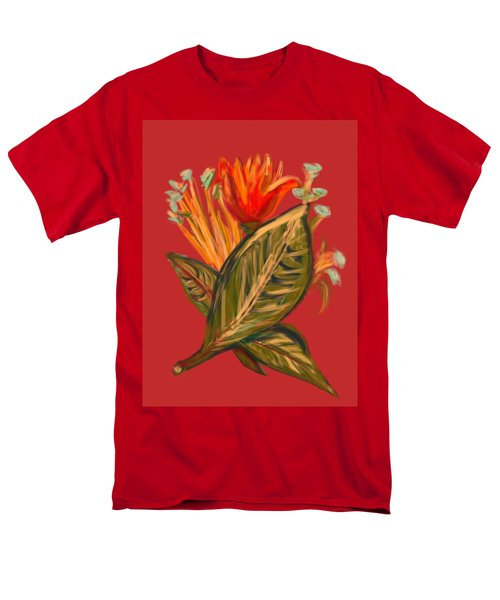 Men's T-Shirt  (Regular Fit) featuring the digital art Hot Tulip R by Christine Fournier