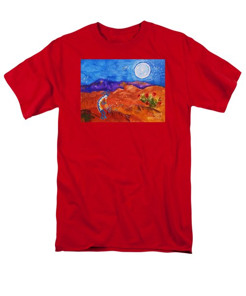 Kokopelli Playing To The Moon Men's T-Shirt  (Regular Fit) by Ellen Levinson