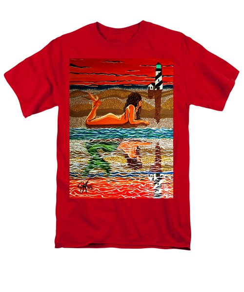 Men's T-Shirt  (Regular Fit) featuring the painting Mermaid Day Dreaming  by Jackie Carpenter