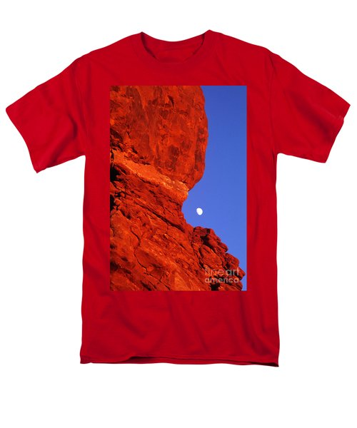 Men's T-Shirt  (Regular Fit) featuring the photograph Moonrise Balanced Rock Arches National Park Utah by Dave Welling
