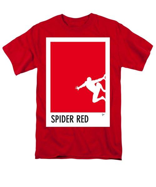 My Superhero 04 Spider Red Minimal Poster Men's T-Shirt  (Regular Fit)