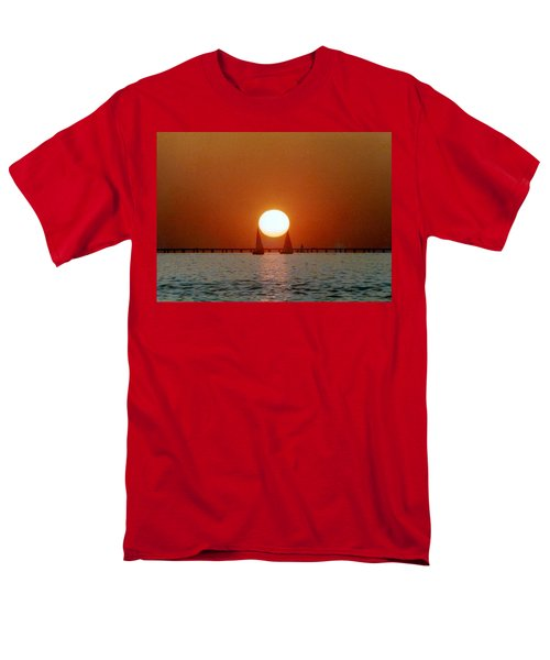 New Orleans Sailing Sun On Lake Pontchartrain Men's T-Shirt  (Regular Fit) by Michael Hoard
