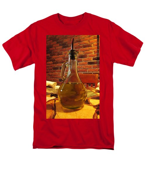 Men's T-Shirt  (Regular Fit) featuring the photograph Olive Oil On Table by Cynthia Guinn