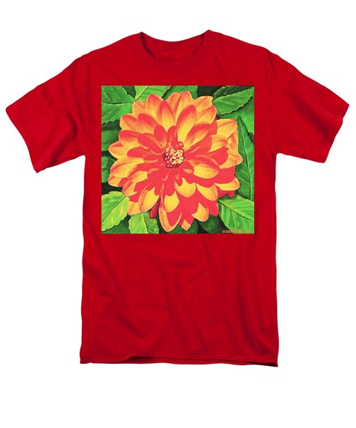 Orange Dahlia Men's T-Shirt  (Regular Fit) by Sophia Schmierer