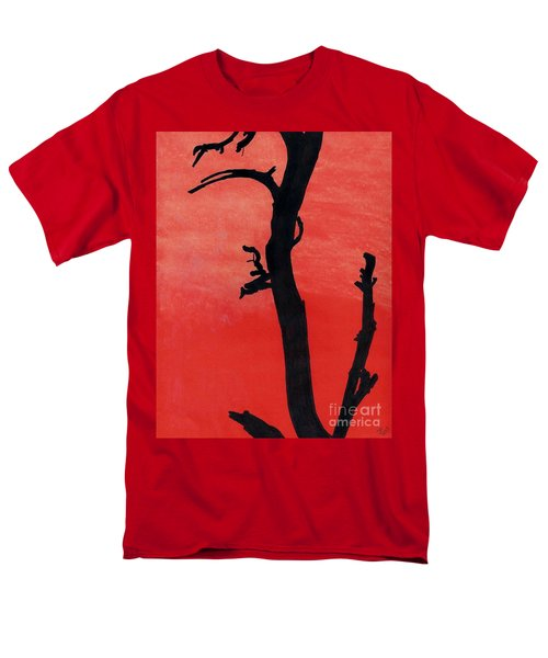 Men's T-Shirt  (Regular Fit) featuring the drawing Orange Sunset Silhouette Tree by D Hackett