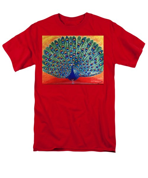 Men's T-Shirt  (Regular Fit) featuring the painting Peacock By Jasna Gopic by Jasna Gopic