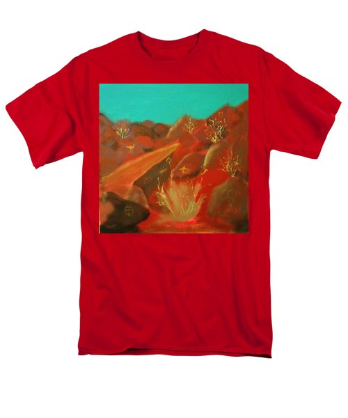 Men's T-Shirt  (Regular Fit) featuring the painting Petroglyph Park by Keith Thue