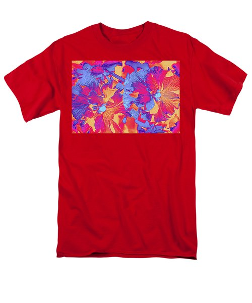 Red And Blue Pansies Pop Art Men's T-Shirt  (Regular Fit) by Dora Sofia Caputo Photographic Art and Design