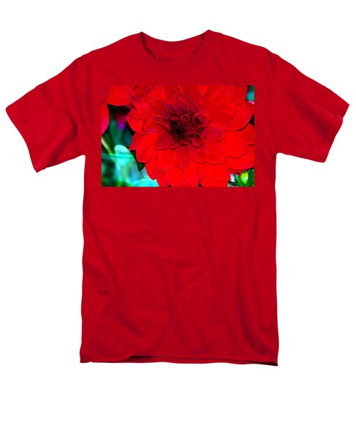 Men's T-Shirt  (Regular Fit) featuring the photograph Red Dahlia by Lehua Pekelo-Stearns