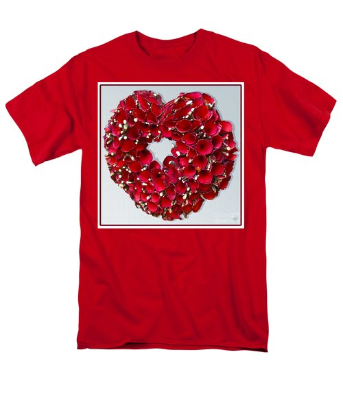Red Heart Wreath Men's T-Shirt  (Regular Fit) by Victoria Harrington