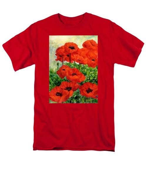 Red  Poppies In Shade Colorful Flowers Garden Art Men's T-Shirt  (Regular Fit) by Elizabeth Sawyer