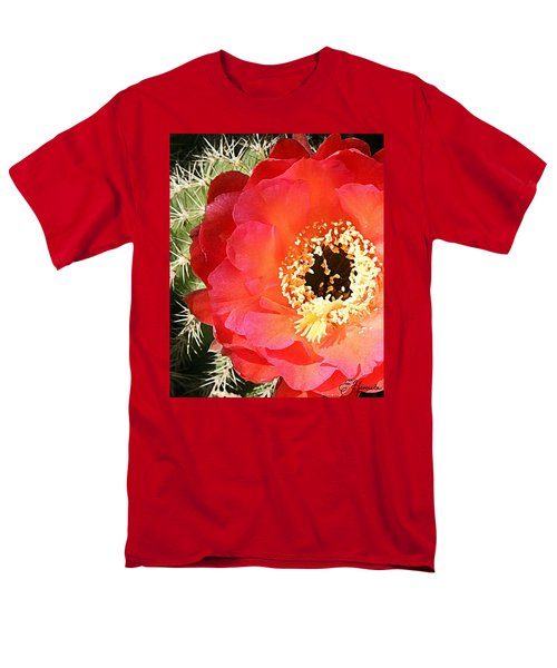Red Prickly Pear Blossom Men's T-Shirt  (Regular Fit)
