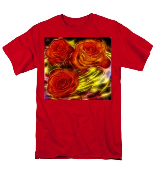 Men's T-Shirt  (Regular Fit) featuring the painting Red Roses In Water - Fractal  by Lilia D