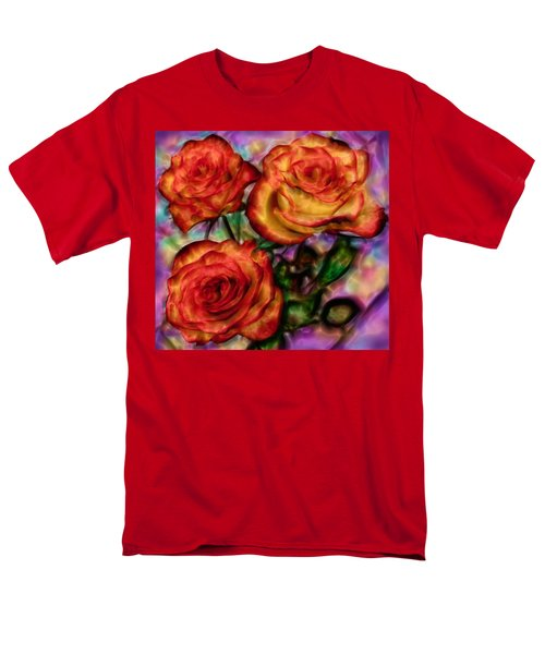 Men's T-Shirt  (Regular Fit) featuring the digital art Red Roses In Water - Silk Edition by Lilia D