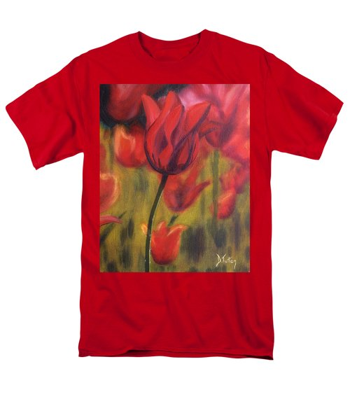 Men's T-Shirt  (Regular Fit) featuring the painting Red Tulips by Donna Tuten
