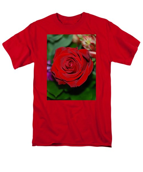 Men's T-Shirt  (Regular Fit) featuring the photograph Red Velvet Rose by Connie Fox