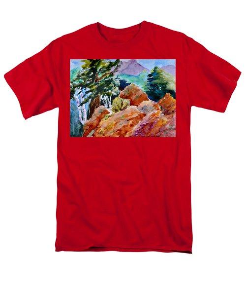 Rocks Near Red Feather Men's T-Shirt  (Regular Fit) by Beverley Harper Tinsley