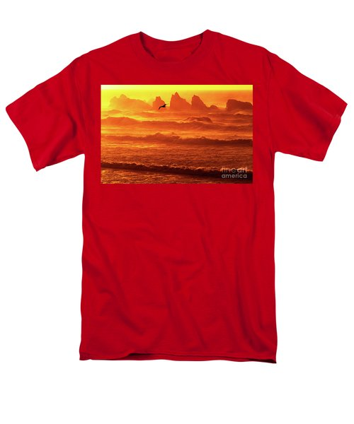 Men's T-Shirt  (Regular Fit) featuring the photograph Seagull Soaring Over The Surf At Sunset Oregon Coast by Dave Welling