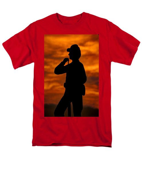Men's T-Shirt  (Regular Fit) featuring the photograph Sky Fire - Flames Of Battle 7th Pennsylvania Reserve Volunteer Infantry-a1 Sunset Antietam by Michael Mazaika