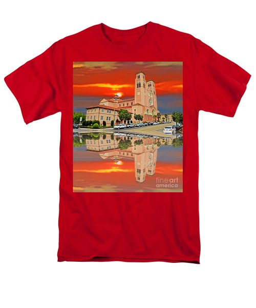 St Anne Church Of The Sunset In San Francisco With A Reflection  Men's T-Shirt  (Regular Fit) by Jim Fitzpatrick