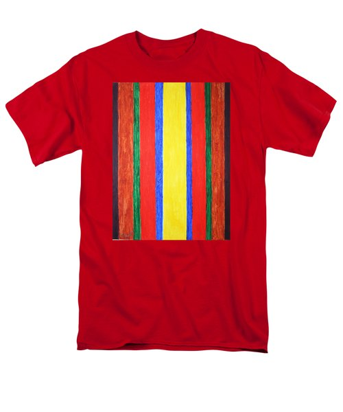 Men's T-Shirt  (Regular Fit) featuring the painting Vertical Lines by Stormm Bradshaw