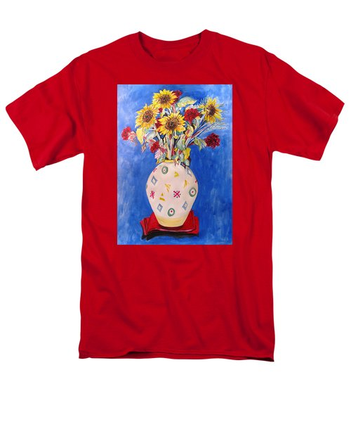 Men's T-Shirt  (Regular Fit) featuring the painting Sunflowers At Home by Esther Newman-Cohen