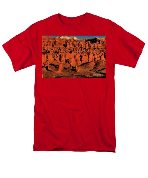 Sunset Light Turns The Hoodoos Blood Red In Goblin Valley State Park Utah Men's T-Shirt  (Regular Fit) by Dave Welling