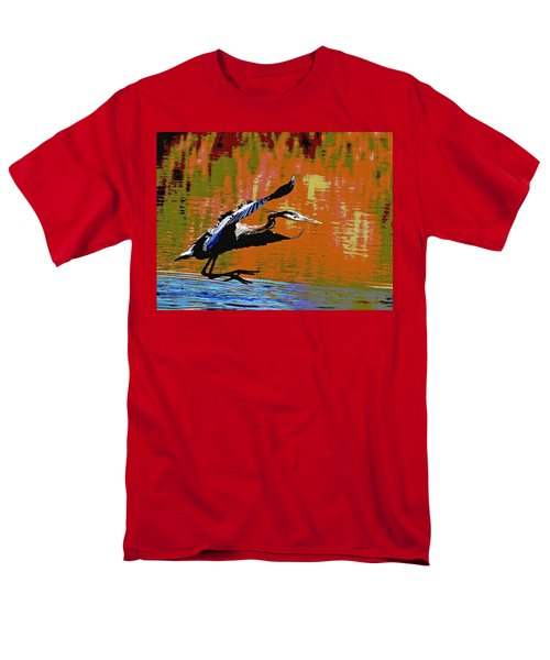 Men's T-Shirt  (Regular Fit) featuring the photograph The Great Blue Heron Jumps To Flight by Tom Janca