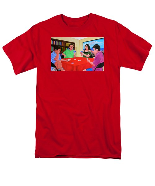 Men's T-Shirt  (Regular Fit) featuring the painting Three Men And A Lady Playing Cards by Cyril Maza