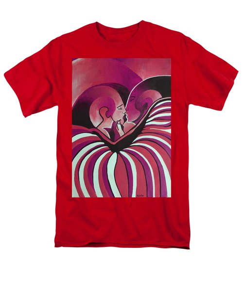 Men's T-Shirt  (Regular Fit) featuring the painting Touched By Africa In  Red Hues by Tracey Harrington-Simpson