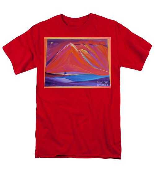 Men's T-Shirt  (Regular Fit) featuring the painting Travelers Pink Mountains by First Star Art