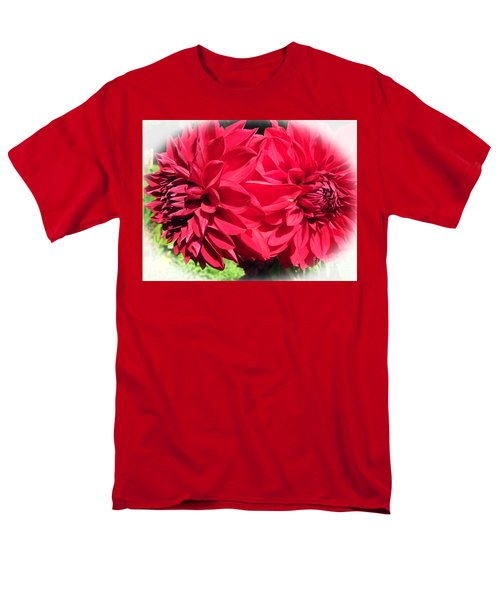 Men's T-Shirt  (Regular Fit) featuring the photograph Twin Red Dahlias by Tina M Wenger