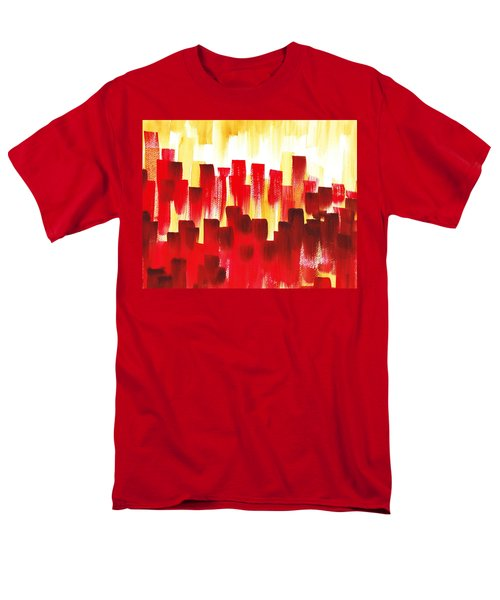 Men's T-Shirt  (Regular Fit) featuring the painting Urban Abstract Red City Lights by Irina Sztukowski