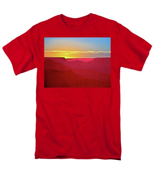 Men's T-Shirt  (Regular Fit) featuring the painting   Sunset At Grand Canyon Desert View by Bob and Nadine Johnston