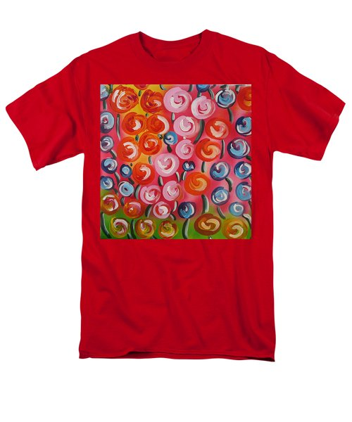 Original Modern Impasto Flowers Painting  Men's T-Shirt  (Regular Fit) by Gioia Albano