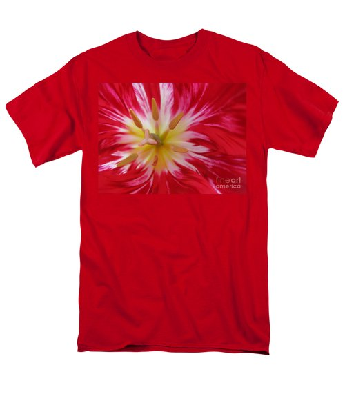 Striped Flaming Tulips. Hot Pink Rio Carnival Men's T-Shirt  (Regular Fit) by Ausra Huntington nee Paulauskaite