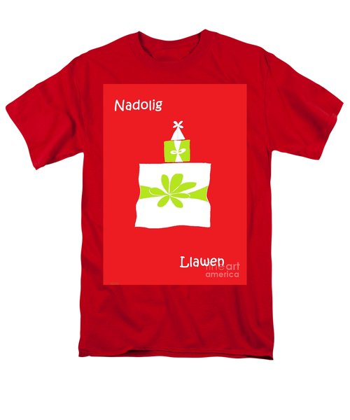 Men's T-Shirt  (Regular Fit) featuring the digital art Welsh Merry Christmas Red by Barbara Moignard