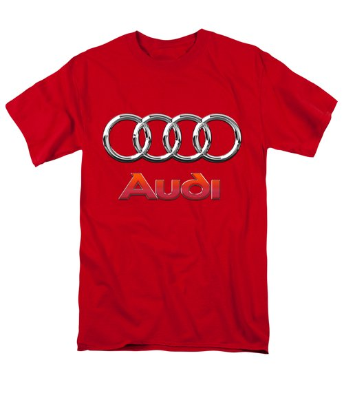 Audi - 3d Badge On Red Men's T-Shirt  (Regular Fit)