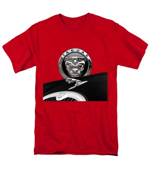 Black Jaguar - Hood Ornaments And 3 D Badge On Red Men's T-Shirt  (Regular Fit) by Serge Averbukh